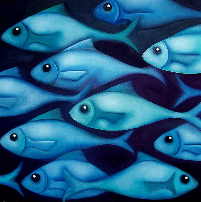 Foto: Greene and Blue Fish, by Georgie Greene (www.paintingsilove.com/image/show/28619/greene-and-blue-fish)