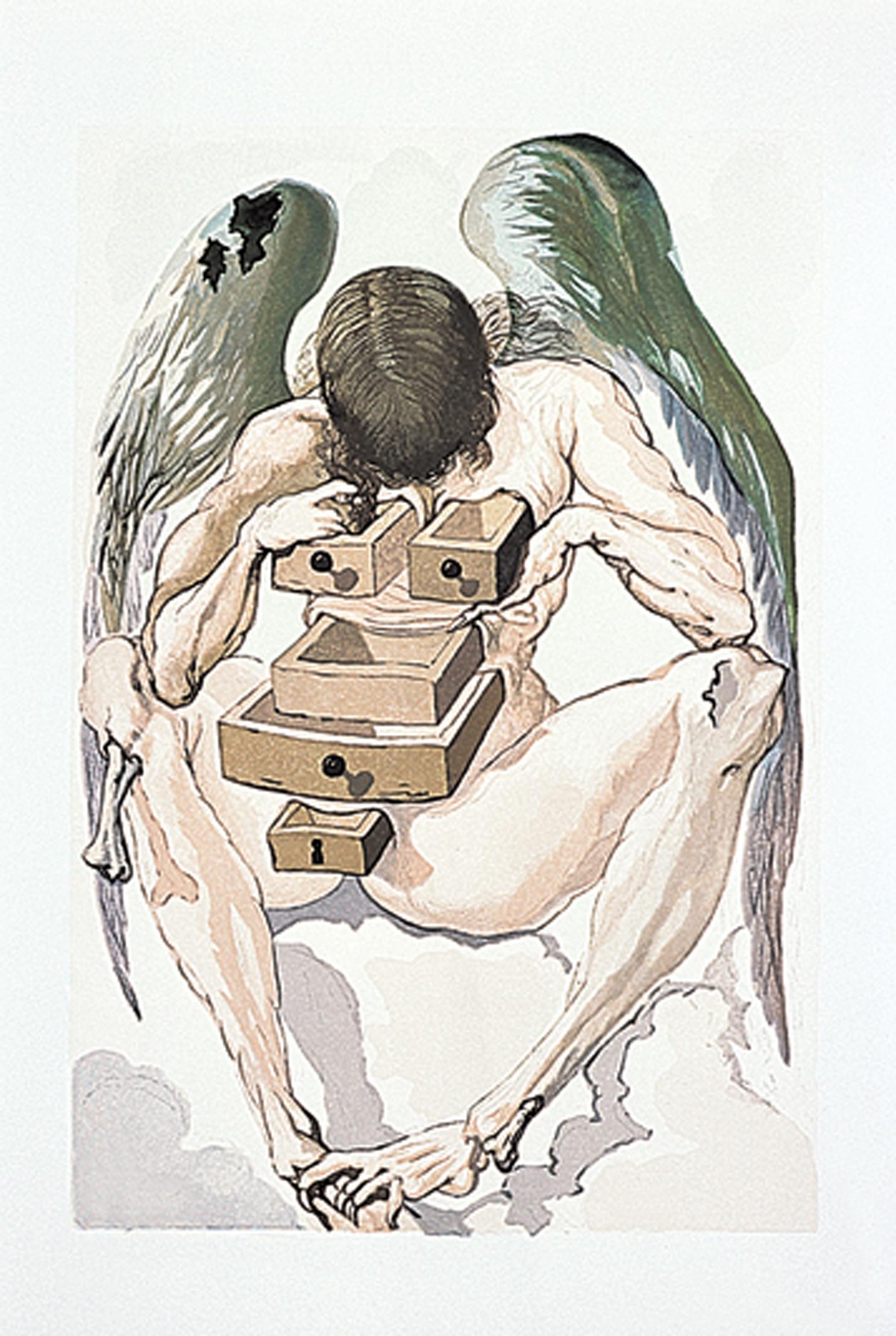 """Salvador Dali - """"The Fallen Angel"""" (Illustration for Dante's """"Divine Comedy"""" 1951)"""
