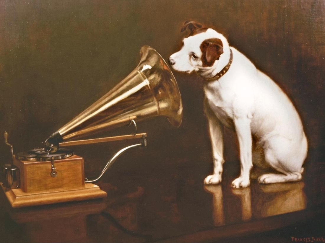 "Foto - Francis Barraud: ""Dog Looking At and Listening to a Phonograph."" (1899)"